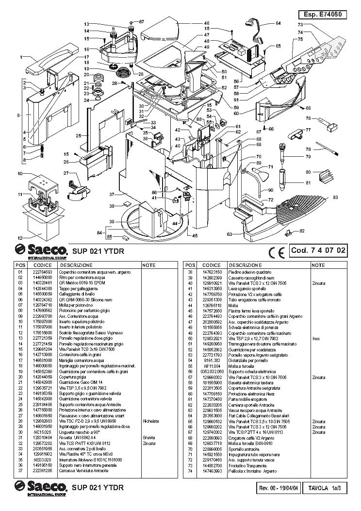 Saeco Sup 021 Ytdr Service Manual Download Schematics