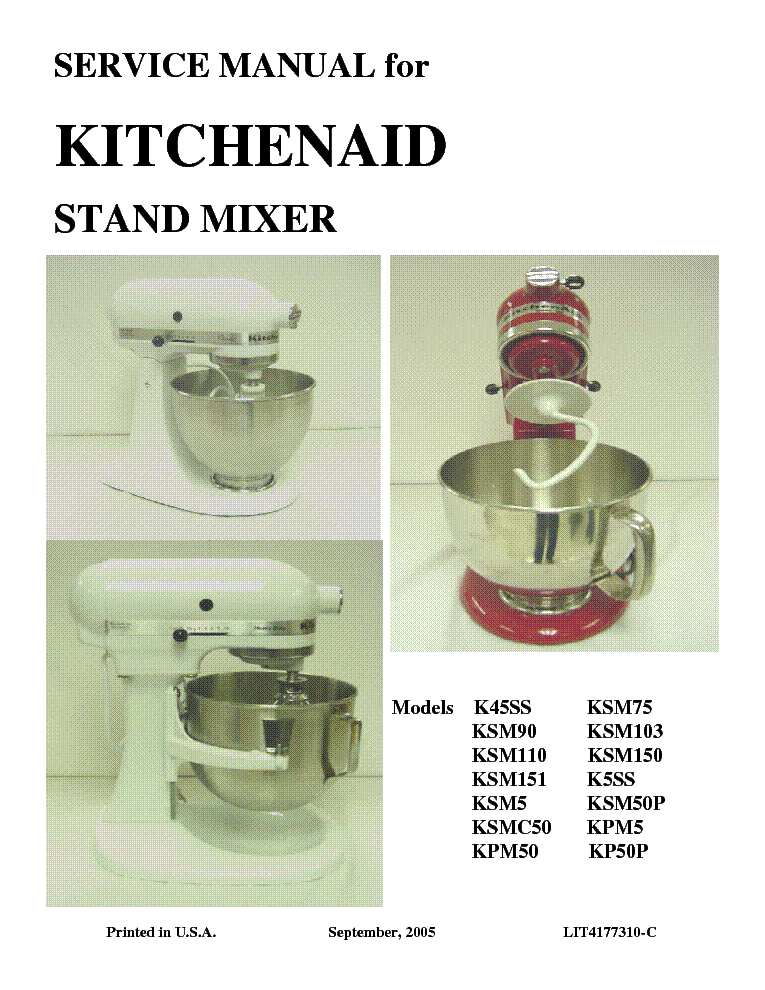 Kitchenaid k5ss service manual Kitchenaid artisan replacement parts