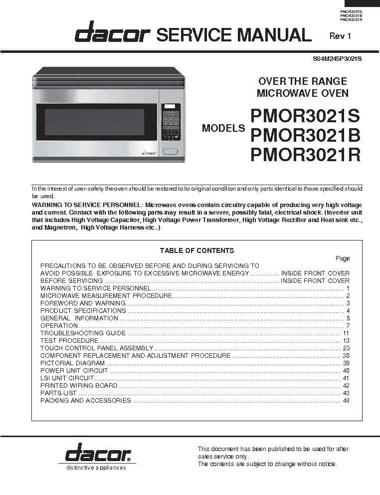 dacor service manual browse manual guides u2022 rh trufflefries co Dacor Wall Oven Repair dacor cooktop repair manual