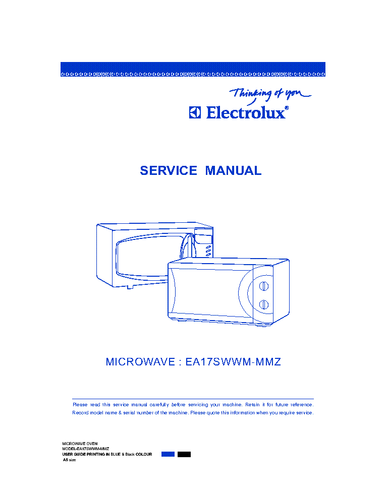 Electrolux Ea17swwm Mmz Microwave Oven Service Manual 1st Page