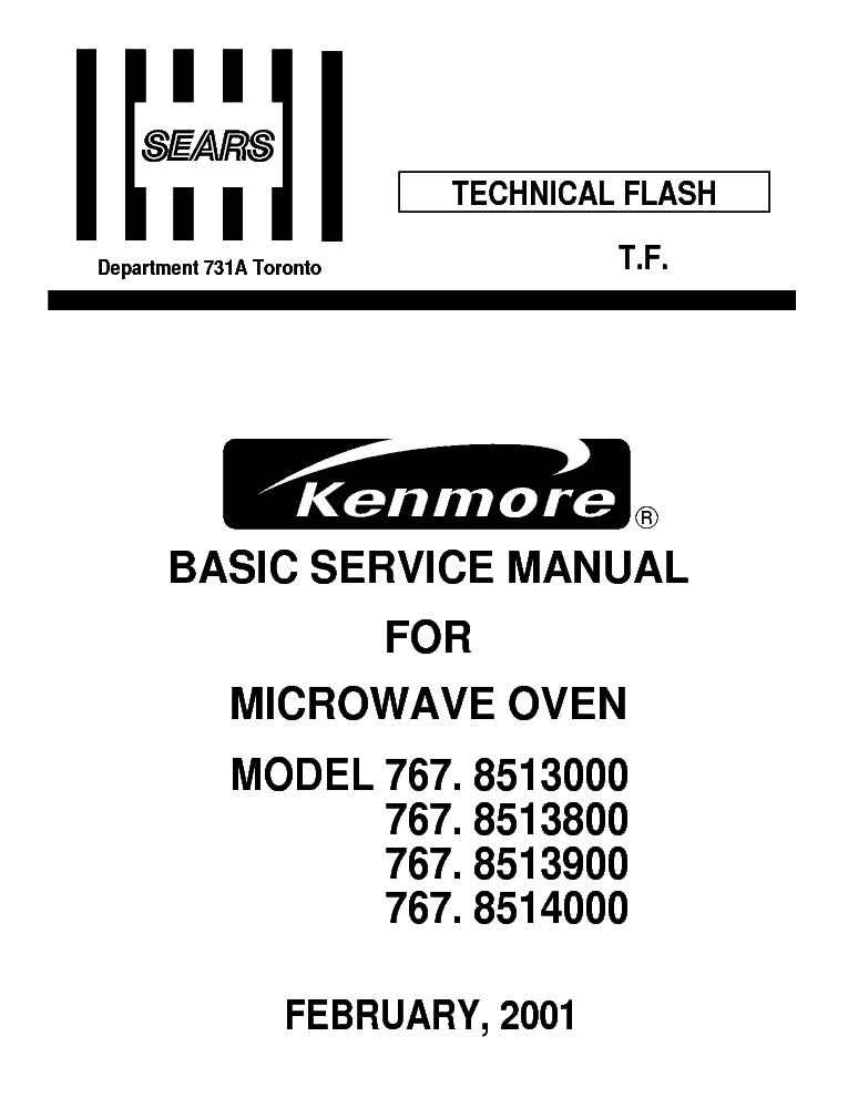 Lg Sears Kenmore 767 8513000 8513800 8513900 8514000