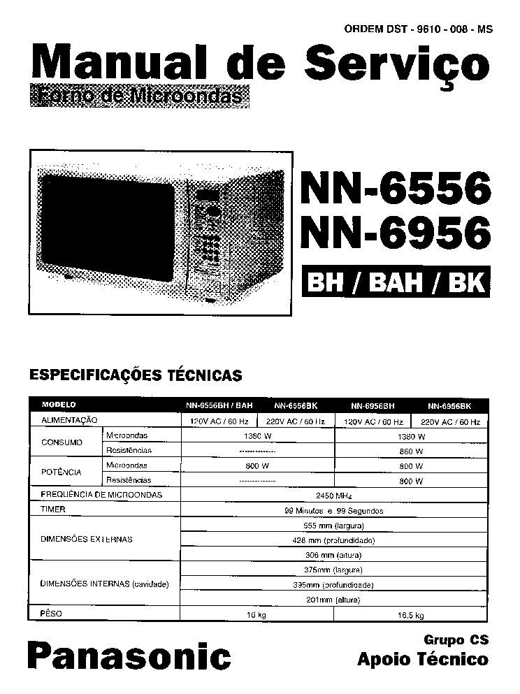 PANASONIC NN-6556 NN-6959 service manual