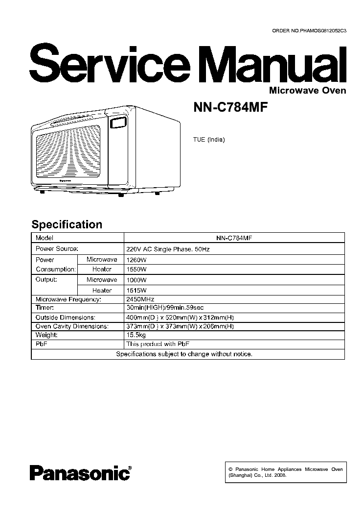 Panasonic Nn C784mf Service Manual 1st Page