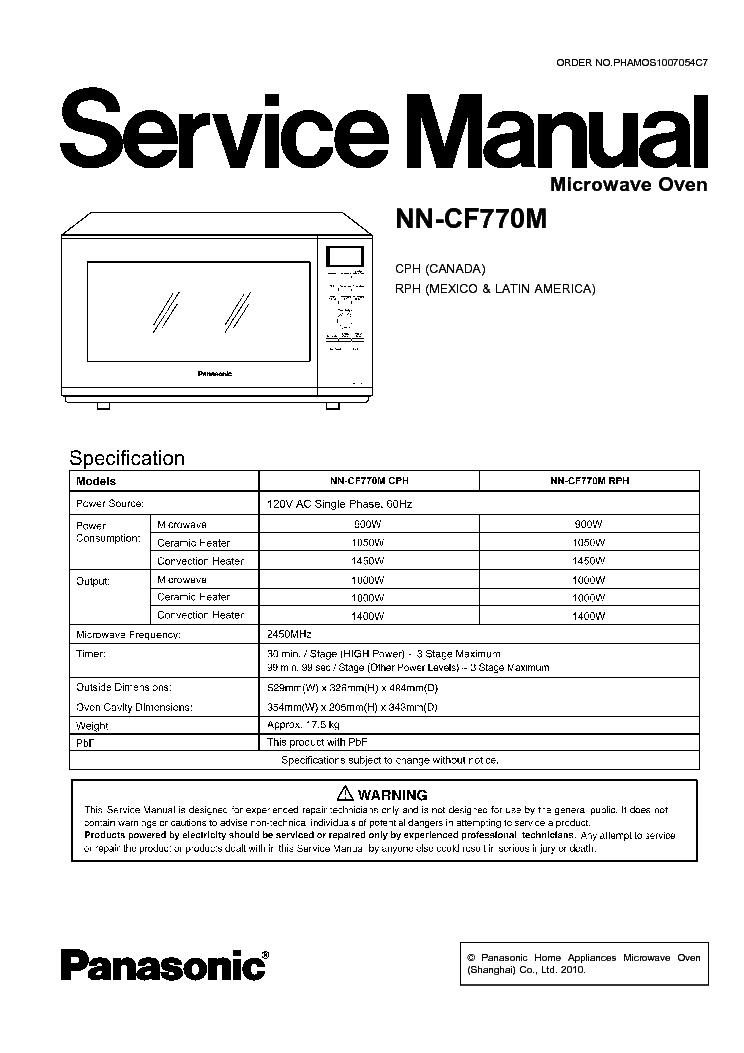 Panasonic inverter microwave nn cf770m manual.