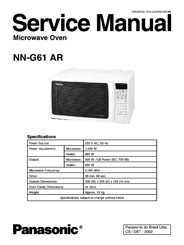 panasonic nn g61ar microwave oven service manual download rh elektrotanya com panasonic flashxpress toaster oven manual panasonic cubie oven manual