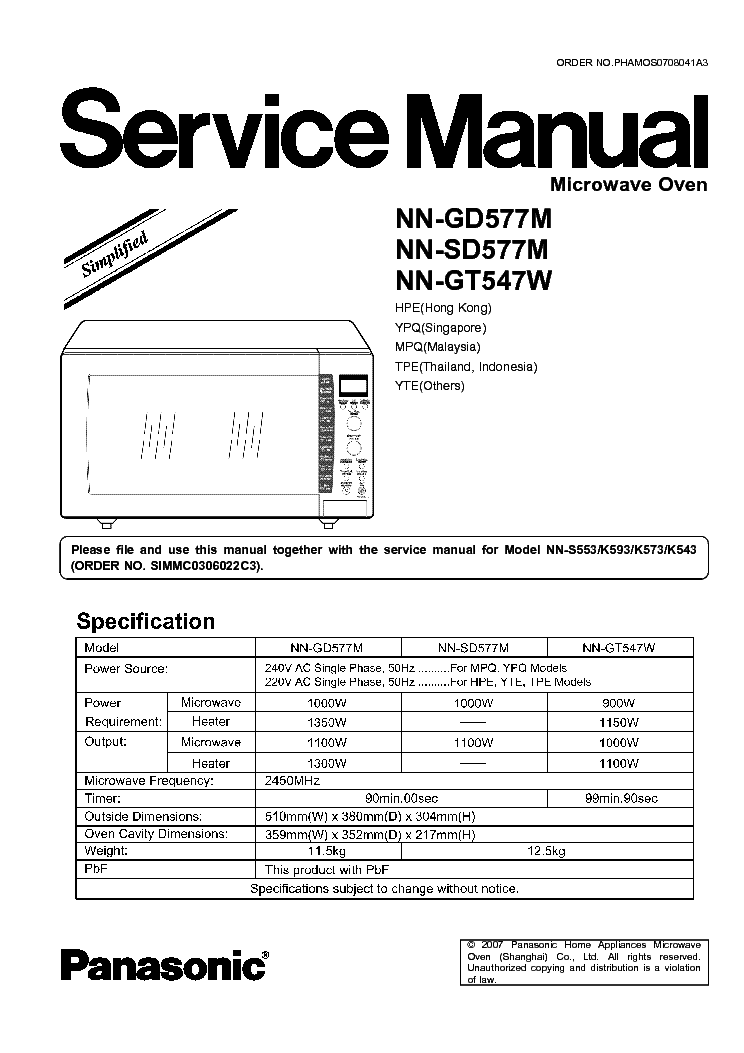 panasonic nn gd577m sd577m gt547w service manual download rh elektrotanya com panasonic microwave oven user manual panasonic steam oven manual