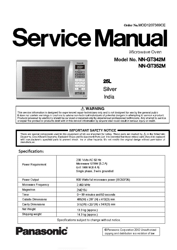 Panasonic Nn Gt342m Gt352m Service