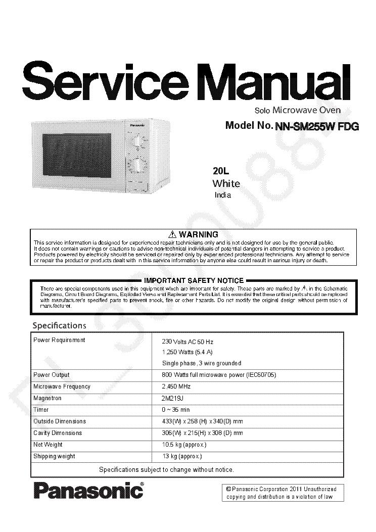 Panasonic Nn Sm255w Fdg Microwave Oven