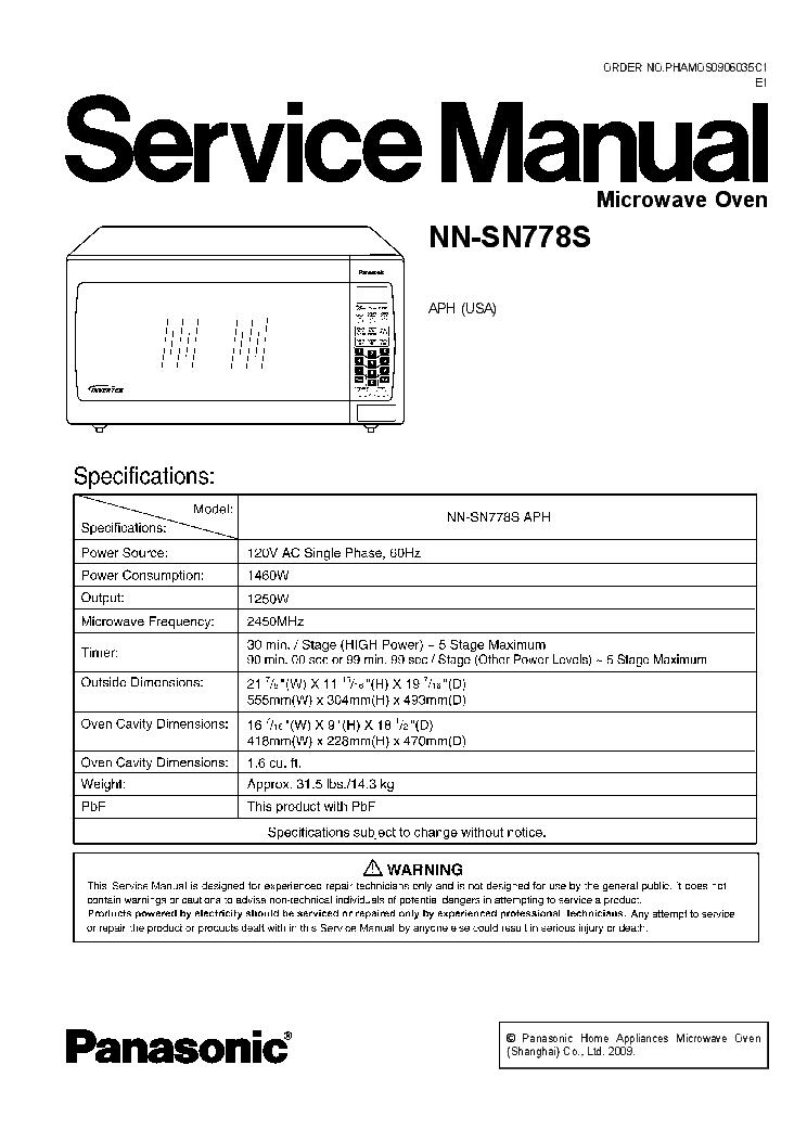 Panasonic Nn Sn778s Service Manual