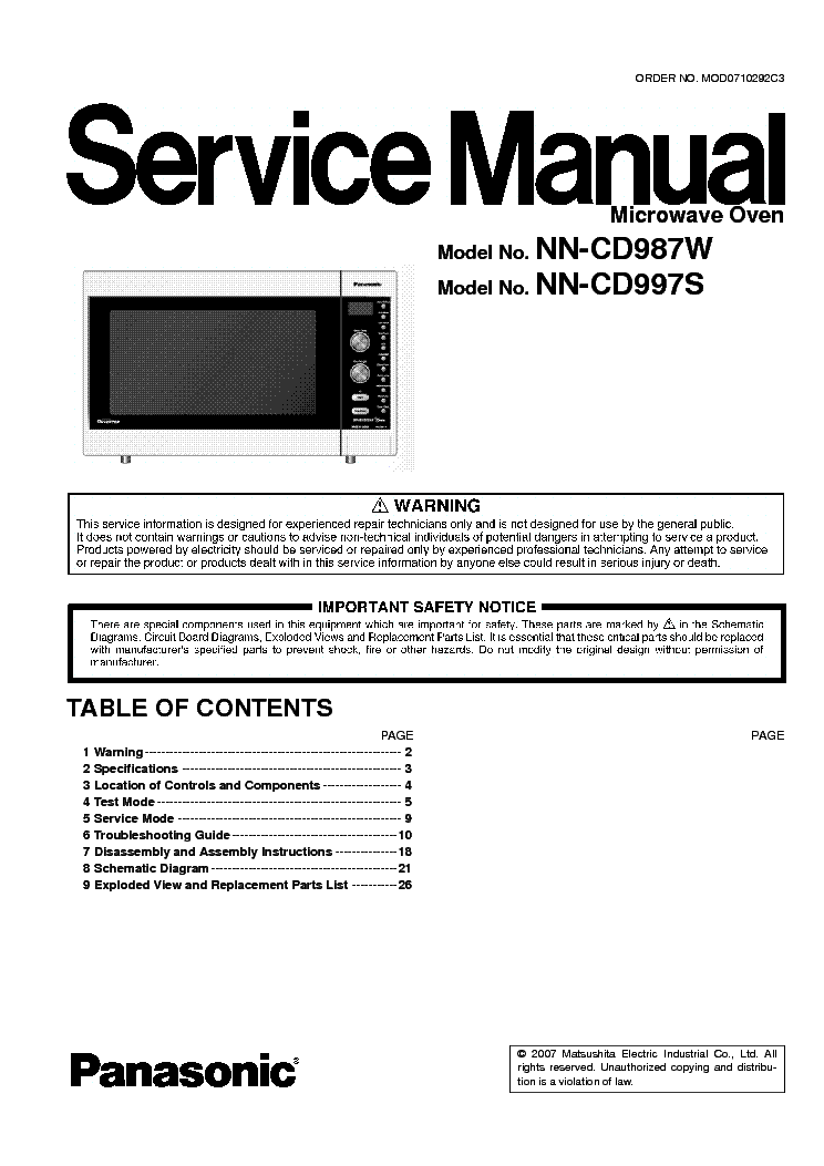 Panasonik Nn Cd997s Service Manual 1st Page