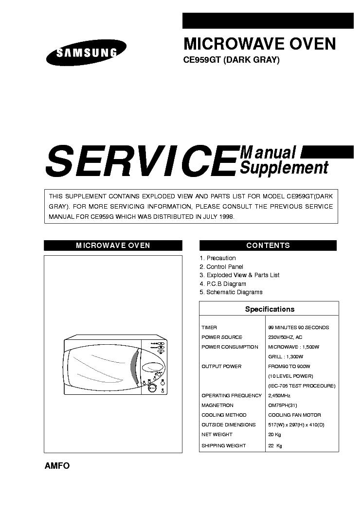 samsung microwave service manual bestmicrowave samsung microwave service manual samsung ce959gt service manual schematics eeprom repair