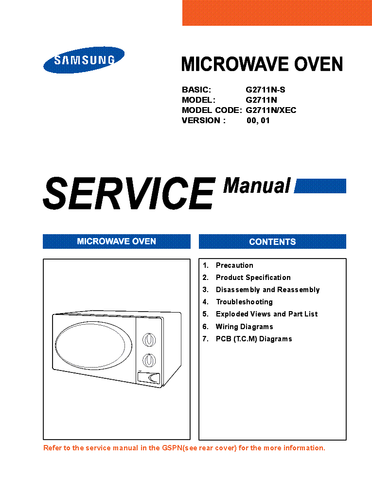 samsung g2711n s g2711n xec ver 00 01 microwave oven service manual rh elektrotanya com samsung microwave oven owner's manual Samsung Over Range Microwave Parts