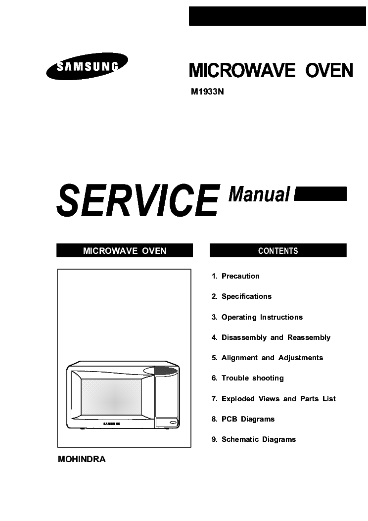 samsung m1933n microwave oven service manual download schematics rh elektrotanya com samsung microwave oven service manual pdf samsung smart oven instruction manual