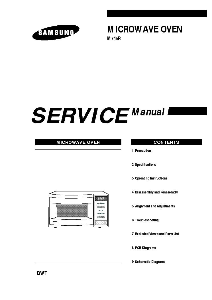 samsung m957 microwave oven repair manual