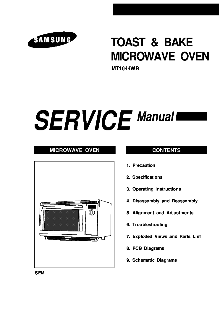 SAMSUNG MT1044WB MICROWAVE OVEN service manual