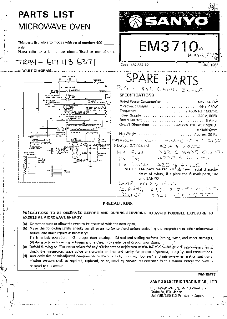 Sharp    Microwave       Wiring       Diagram     24h schemes