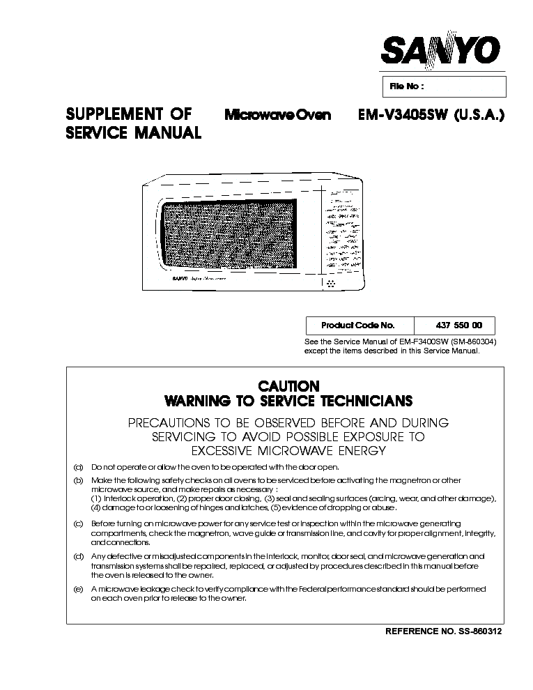 SANYO EMV3405SW service manual