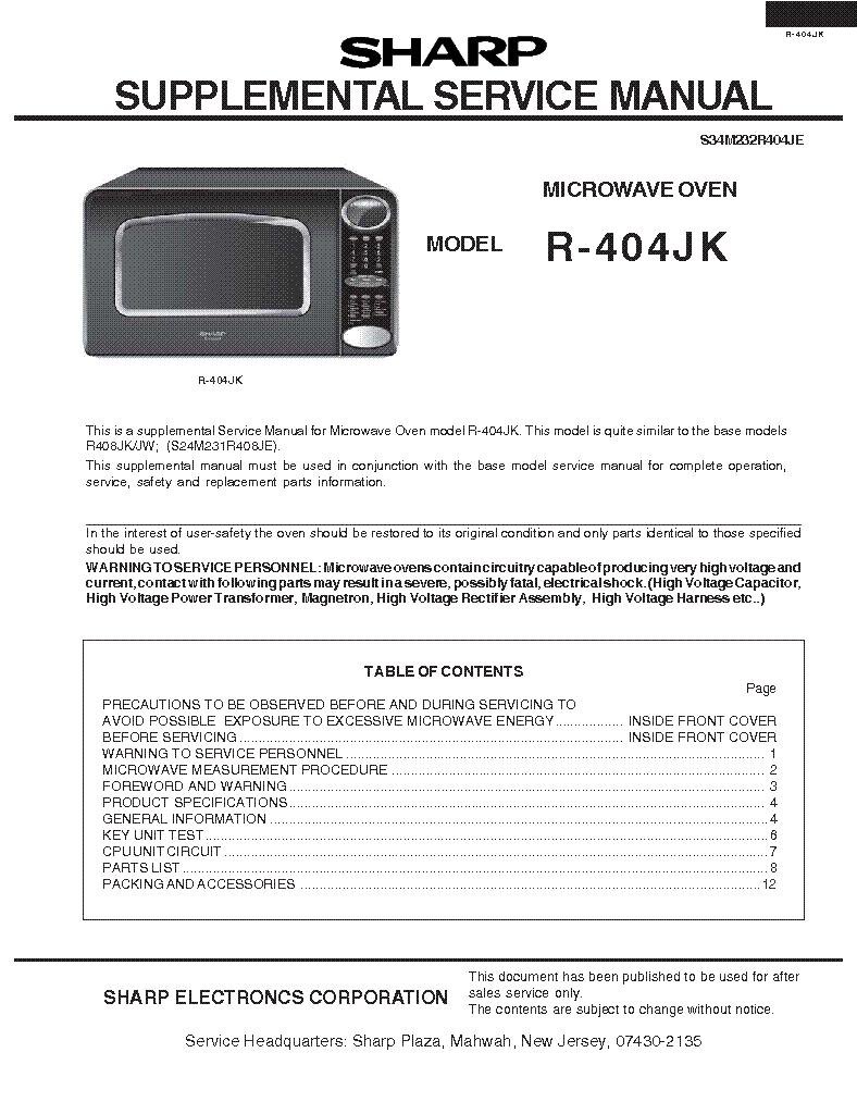 SHARP R-404JK SUPP Service Manual download, schematics, eeprom