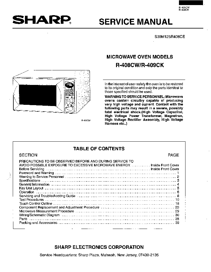 Sharp R 408cw 409ck Service Manual