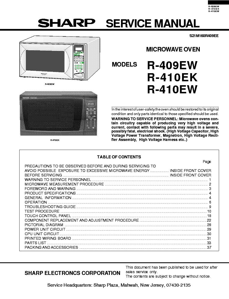 sharp r 409ew 410ek 410ew service manual download schematics rh elektrotanya com sharp carousel ii microwave service manual Sharp Carousel 80s