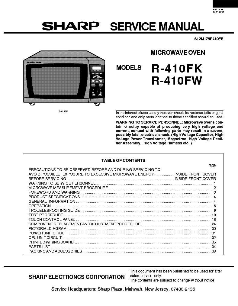 Sharp R10r50 Service Manual Free Download  Schematics