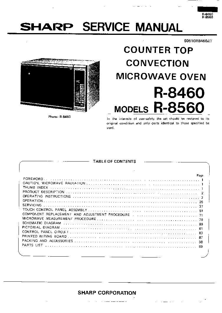 SHARP R-8460 R-8560 SM service manual (1st page)