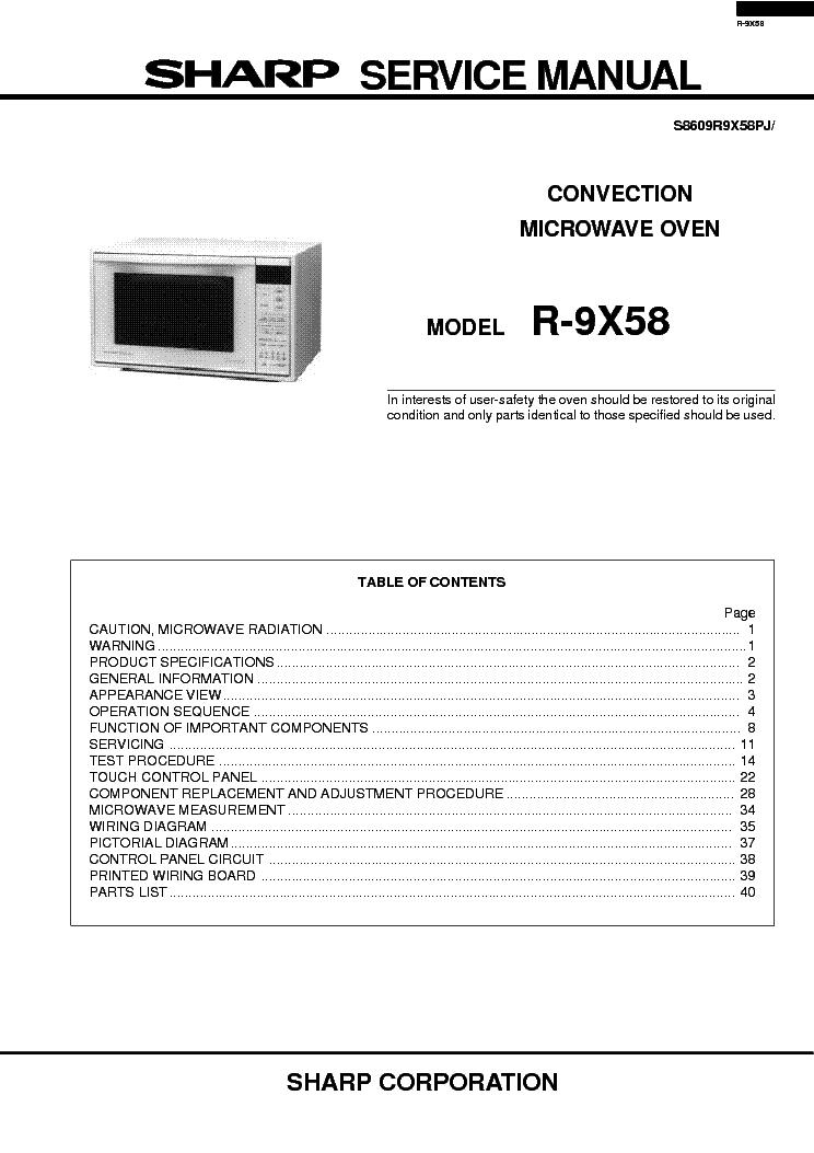 sharp r 9x58 sm service manual download schematics eeprom repair rh elektrotanya com Sharp Carousel 80s sharp carousel microwave service manual