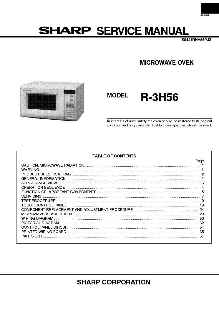 Sharp R3h56 Service Manual