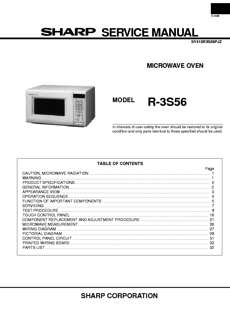 SHARP R3S56 service manual