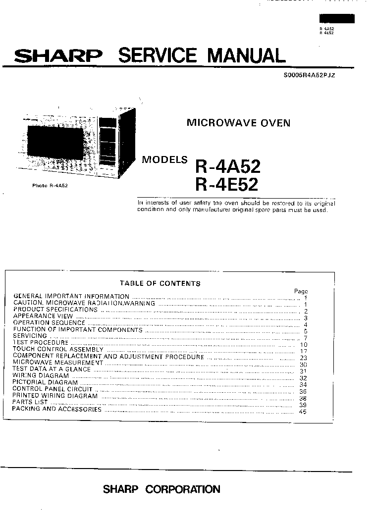 SHARP R4A52 R4E52 Service Manual download, schematics, eeprom ... on sharp microwave electrical diagram, maytag microwave schematic diagram, ge microwave schematic diagram, microwave oven state diagram, sharp microwave parts diagram, whirlpool microwave schematic diagram, microwave oven schematic diagram, panasonic microwave schematic diagram, sharp microwave wiring diagram, samsung microwave schematic diagram,