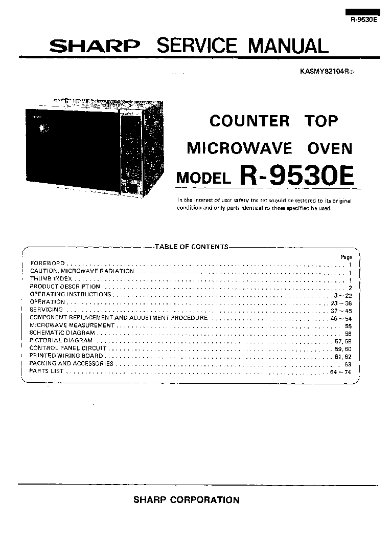 Sharp R9530e Service Manual Download Schematics Eeprom Repair Control Panel Circuit Diagram And Parts List For Microwaveparts 1st Page