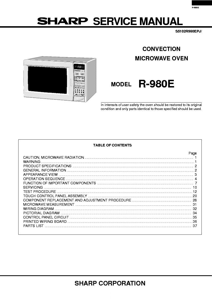 Sharp Microwave Repair Manual Pictures