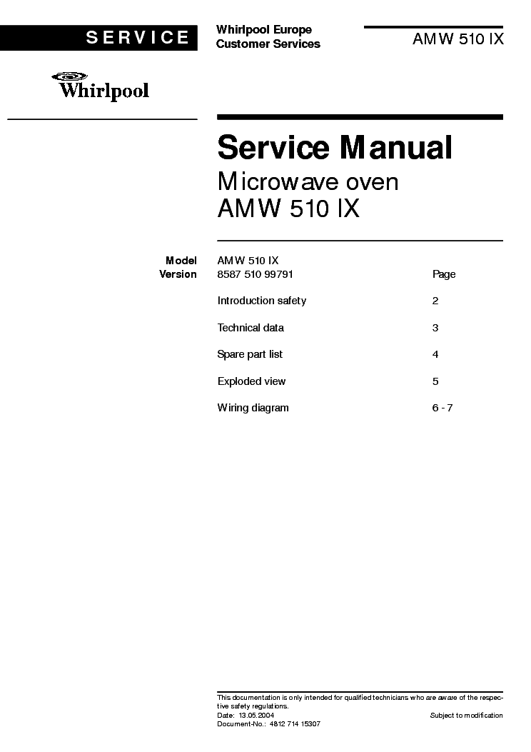Whirlpool Amw 510 Ix Service Manual 1st Page