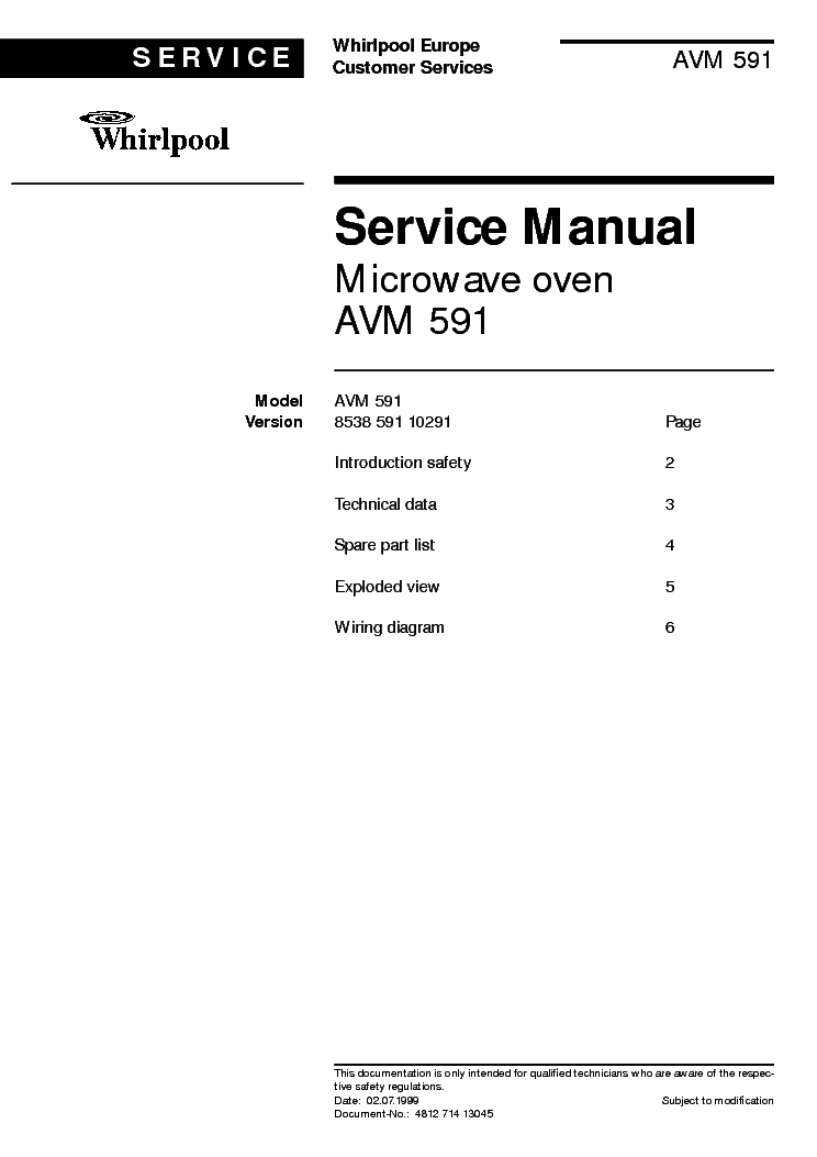 WHIRLPOOL AVM 591 service manual (1st page)