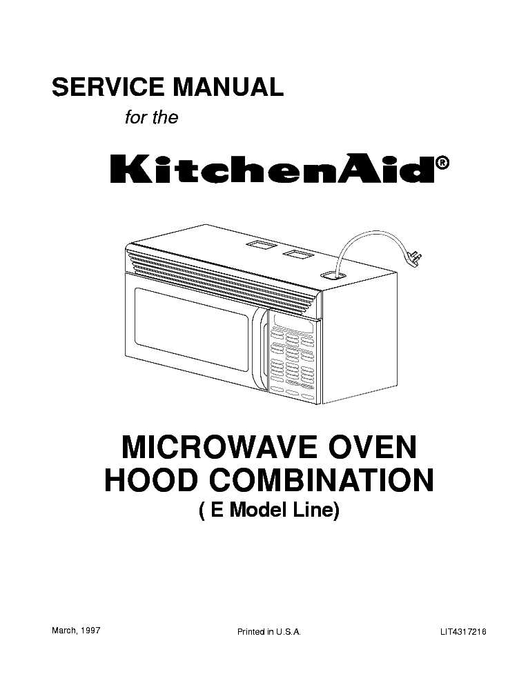 Whirlpool Kitchenaid Microwave Oven Hood Combo E Model
