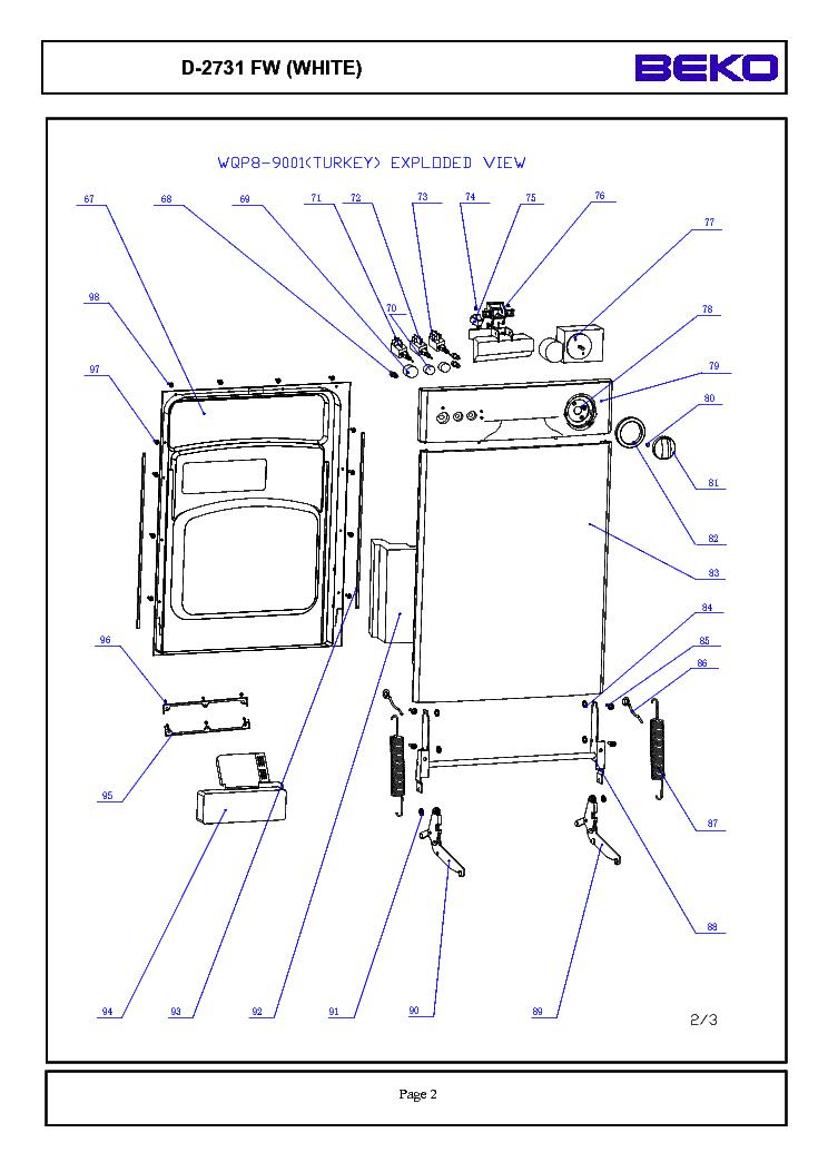BEKO MIDEA D2732 FW EXPLODED DISH Service Manual download