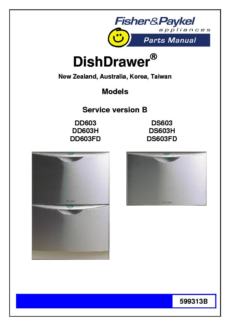 fisher paykel dd603 h fd ds603 h fd parts list service manual rh elektrotanya com fisher paykel dishdrawer owners manual Fisher Paykel Double DishDrawer DD24DTI7