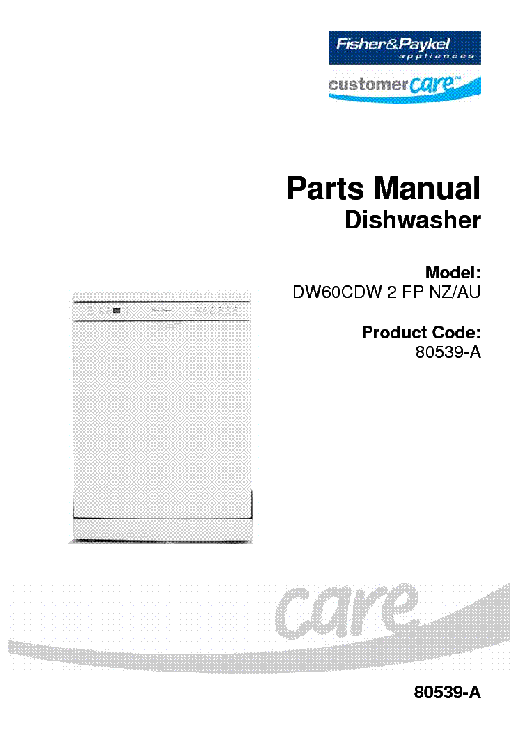 fisher and paykel 913t dishwasher service manual
