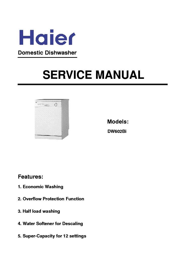 HAIER DW12-AFM4ME DW602BI DISHWASHER Service Manual download ...