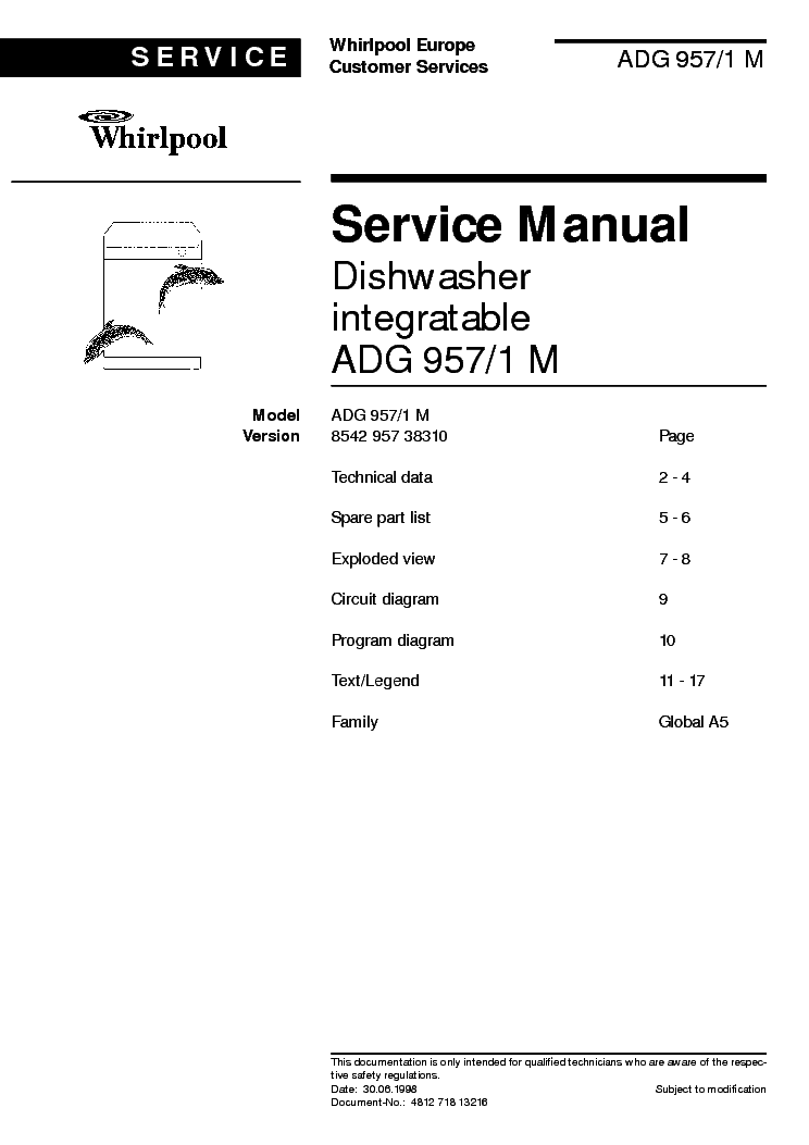 Service manual whirlpool adg 957/1 m - download your lost.