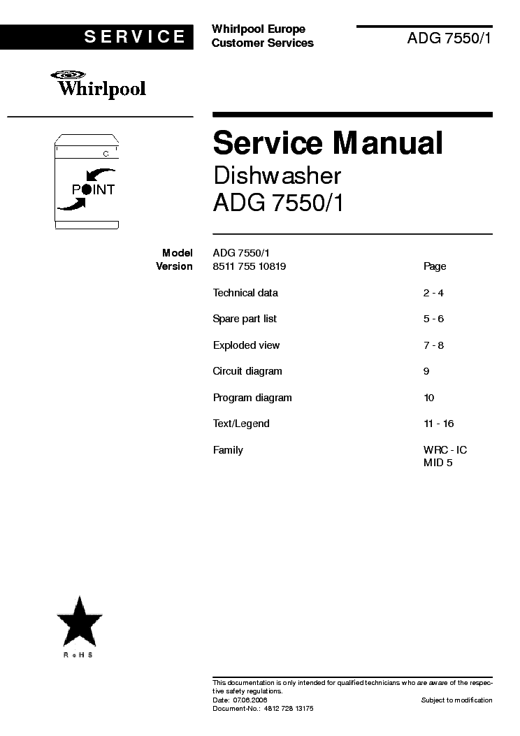 WHIRLPOOL ADG 7550-1 service manual