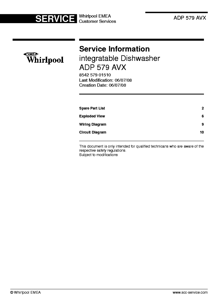 WHIRLPOOL ADP 579 AVX Service Manual download, schematics