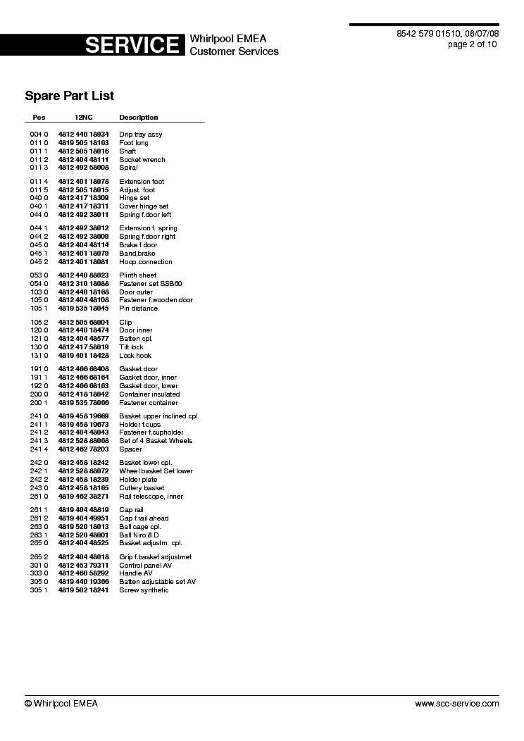 WHIRLPOOL ADP 579 AVX Service Manual download, schematics