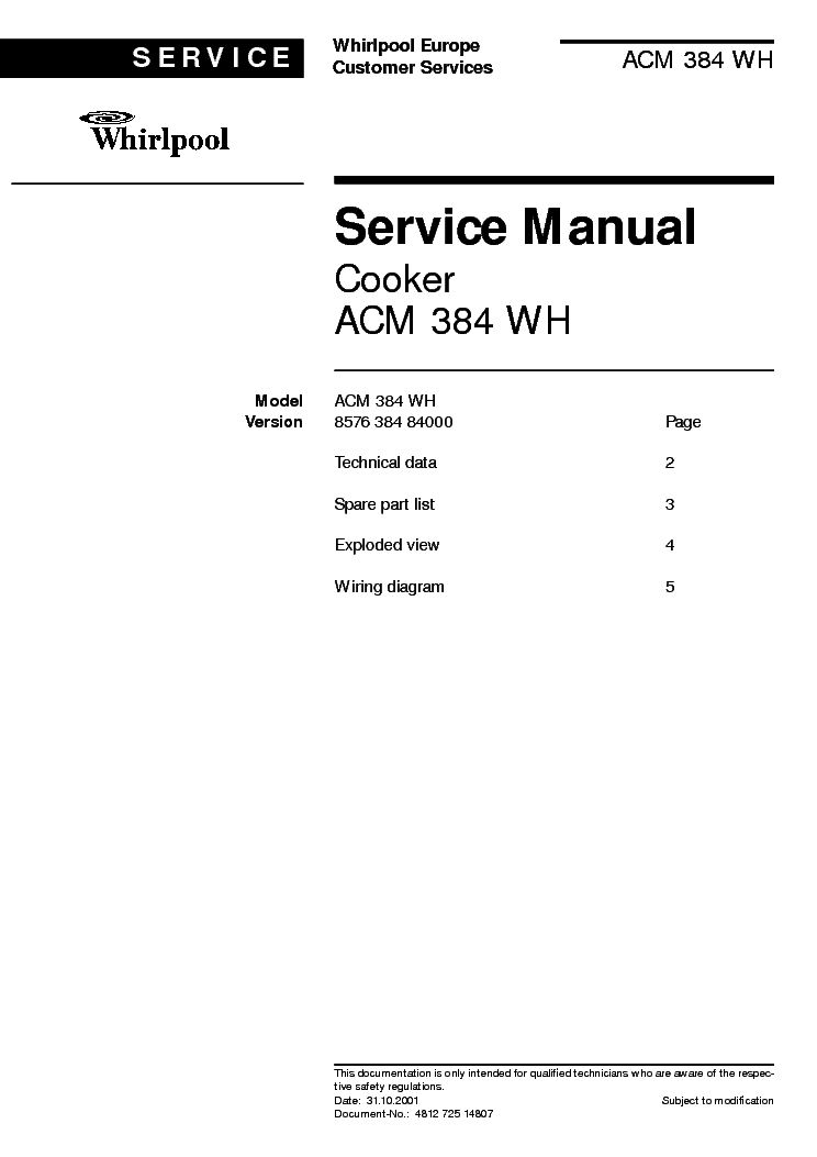 WHIRLPOOL ACM384WH service manual
