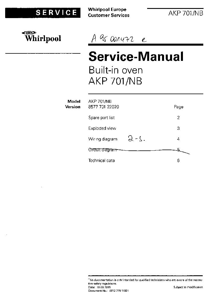 Whirlpool Akp 701 Nb Service Manual Download  Schematics