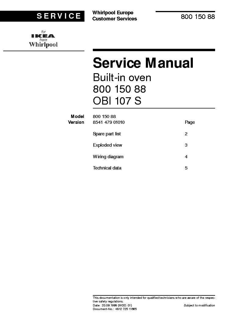 WHIRLPOOL IKEA OBI 107 S Service Manual download, schematics, eeprom ...