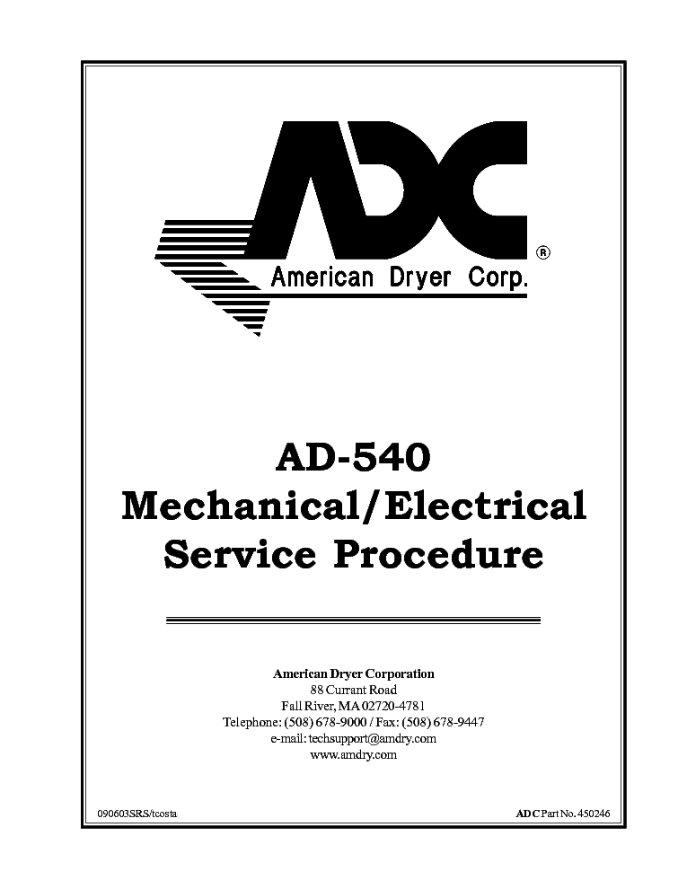 ADC AD 540MECHANICAL ELECTRICAL Service Manual 1st Page