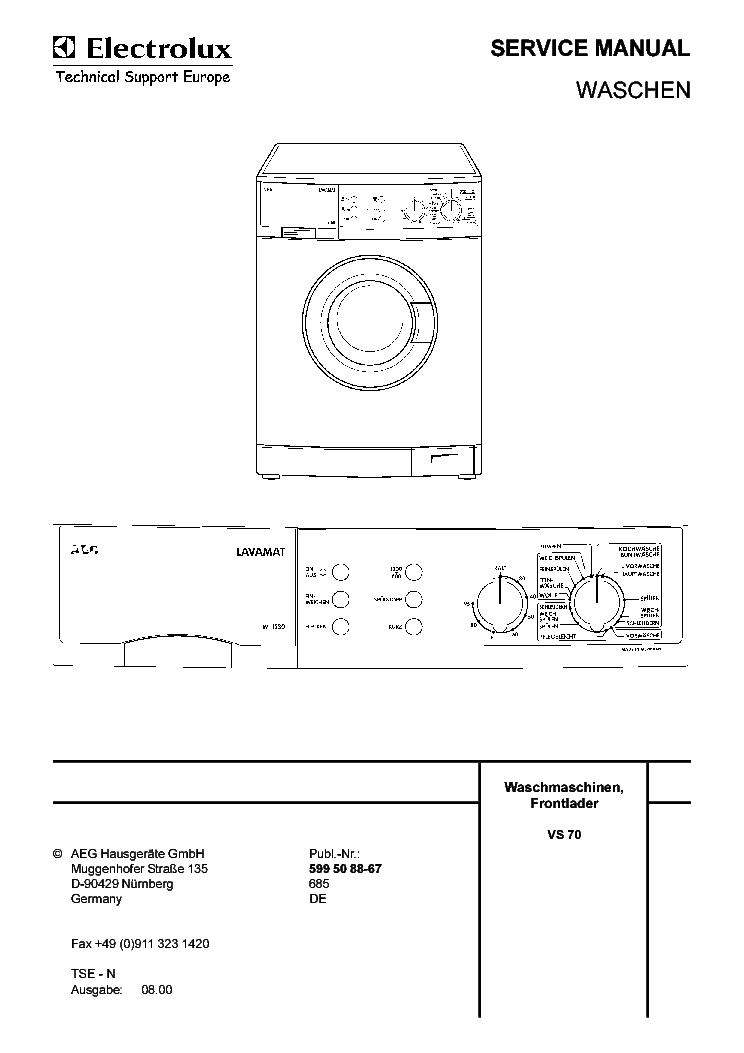 Aeg Lavamat 1030 1230 Service Manual Download Schematics Eeprom