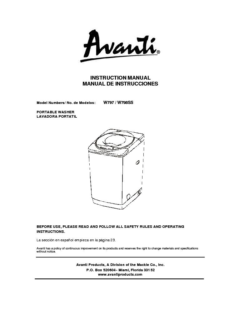avanti w797 service manual download schematics eeprom repair info rh elektrotanya com avanti 2001s mini washer manual Avanti Washer Repair