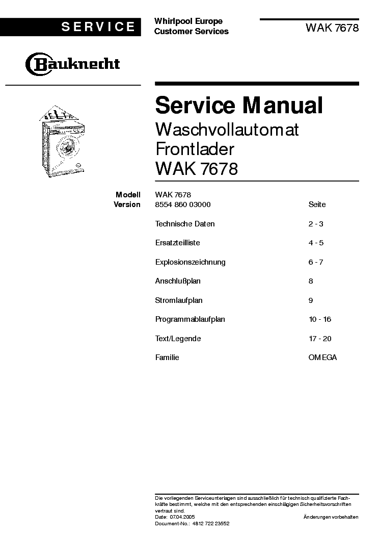 bauknecht wat star 1200 service manual download schematics eeprom repair info for electronics